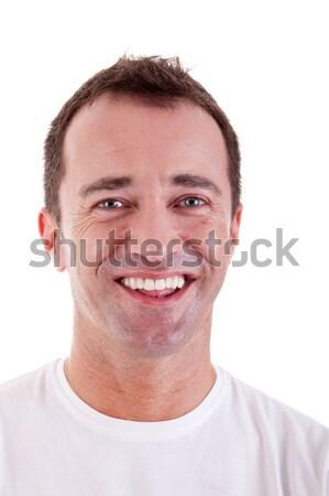 Foto stock: Retrato · bonito · homem · feliz · branco