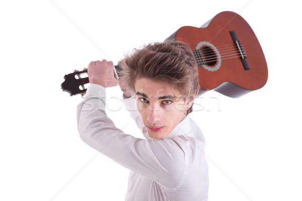 Bonito zangado moço músico guitarrista retrato Foto stock © alexandrenunes