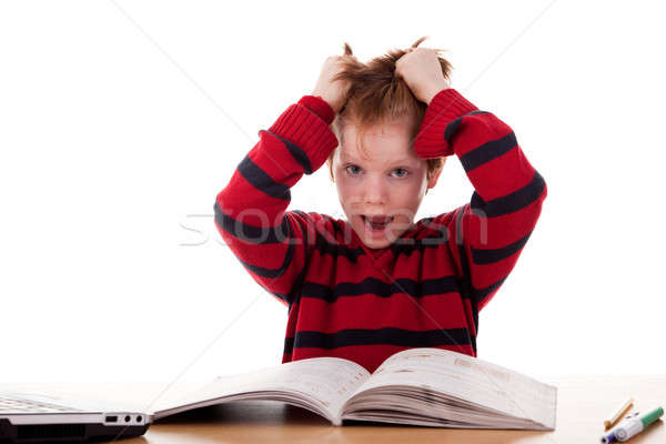 Schoolboy screaming and tearing his hair Stock photo © alexandrenunes