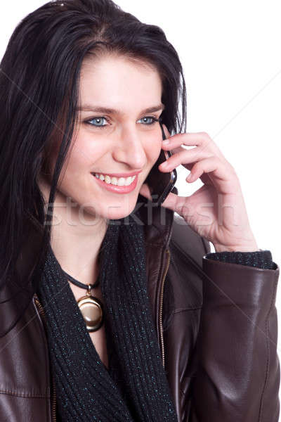 Bela mulher telefone menina sorrir telefone beleza Foto stock © alexandrenunes
