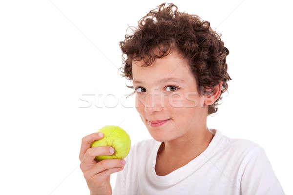 Menino alimentação verde maçã isolado branco Foto stock © alexandrenunes
