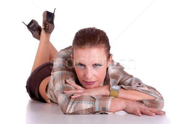 beautiful middle-age woman, lying on the floor Stock photo © alexandrenunes