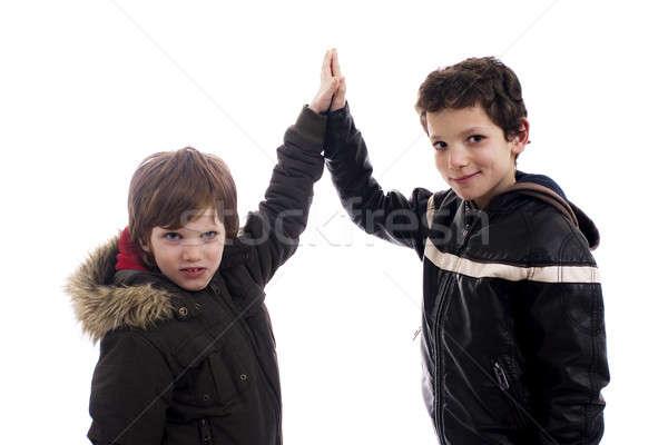 Cinco dois meninos azul juventude branco Foto stock © alexandrenunes