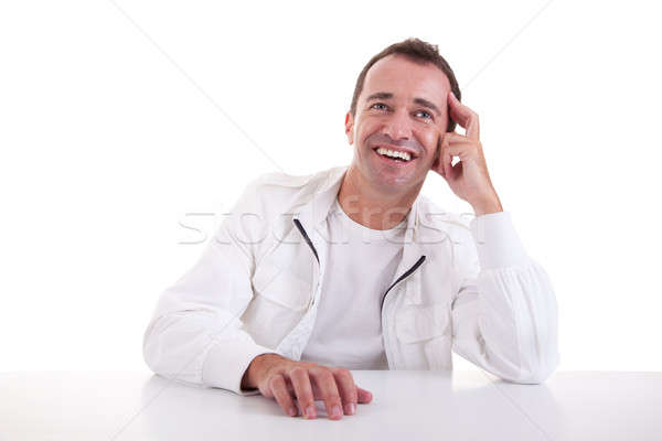 smiling middle-age man sitting at desk Stock photo © alexandrenunes