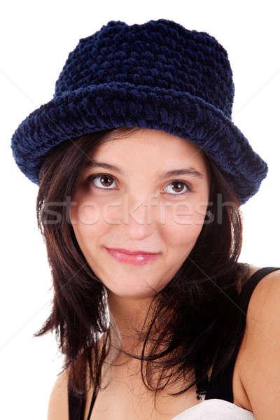 Belo mulher jovem azul seis isolado branco Foto stock © alexandrenunes