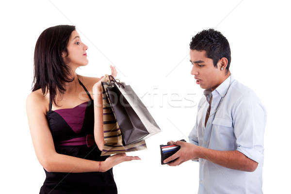 Mulher homem carteira isolado Foto stock © alexandrenunes