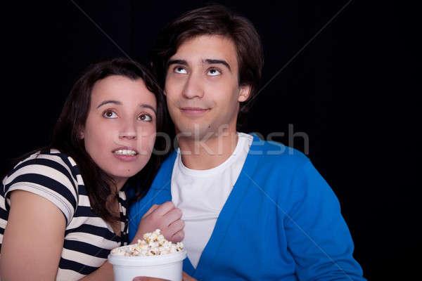 Casal assistindo pipoca mulher sorrir televisão Foto stock © alexandrenunes
