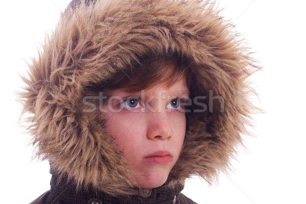 Cute ragazzo peloso isolato bianco faccia Foto d'archivio © alexandrenunes