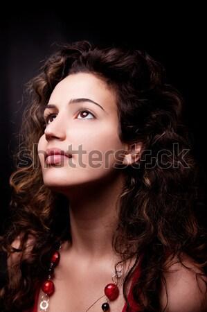 Jovem mulher atraente sorridente isolado preto Foto stock © alexandrenunes