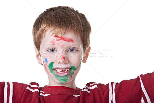 Children playing with paint, with painted face Stock photo © alexandrenunes