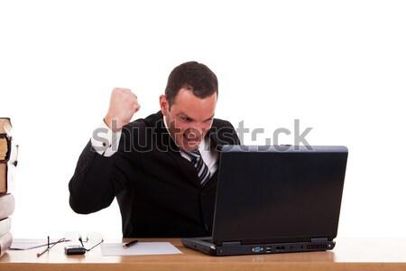 Empresário computador braço feliz isolado Foto stock © alexandrenunes
