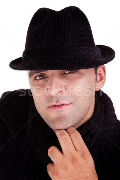 Retrato homem preto seis isolado branco Foto stock © alexandrenunes