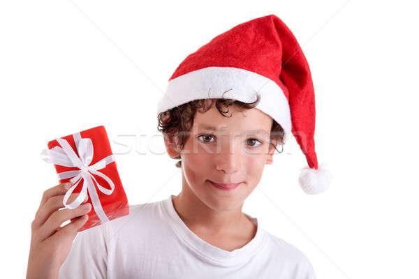 Bonitinho natal menino vermelho dom isolado Foto stock © alexandrenunes