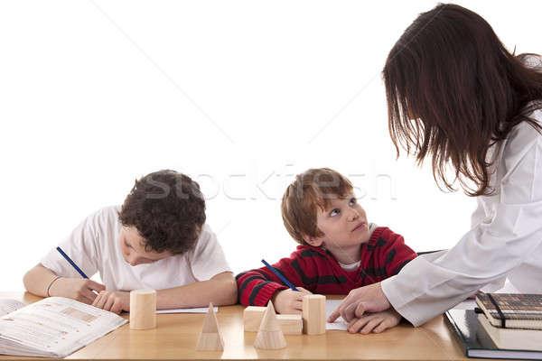 Сток-фото: два · студентов · учитель · образование · столе · классе