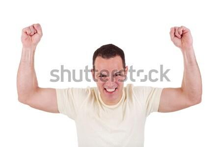 Portré boldog férfi karok a magasban fehér stúdiófelvétel Stock fotó © alexandrenunes