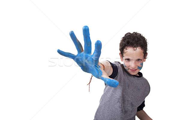 Main allusion bleu Kid floue isolé Photo stock © alexandrenunes
