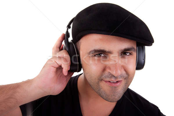 man listening music in headphones and smiling Stock photo © alexandrenunes