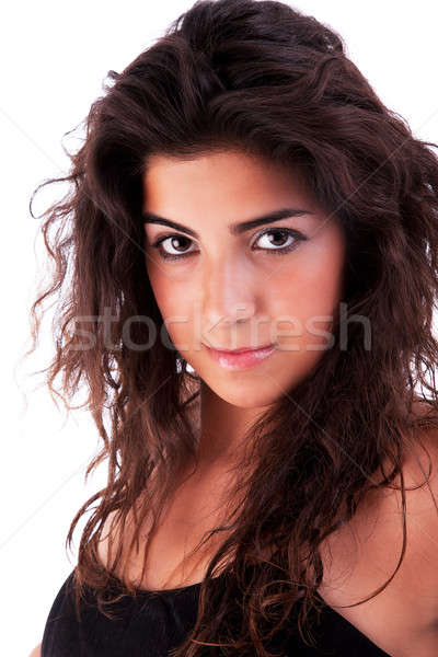 Jovem mulher atraente olhando isolado branco Foto stock © alexandrenunes