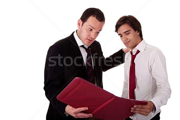 Foto stock: Dois · empresários · falante · trabalhar · olhando · documento