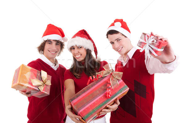 Foto stock: Feliz · natal · adolescentes · presentes · isolado · branco
