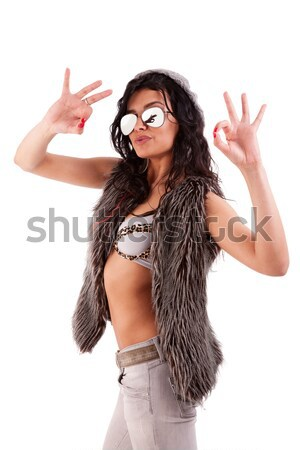 young beautiful woman  with hand as an police officer with weapon raised Stock photo © alexandrenunes
