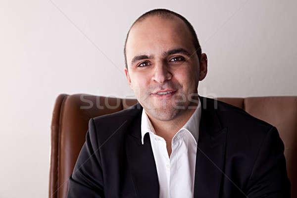 человека сидящий Председатель бизнеса счастливым мужчин Сток-фото © alexandrenunes