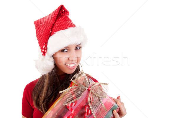 Feliz natal mulher jovem presentes isolado branco Foto stock © alexandrenunes