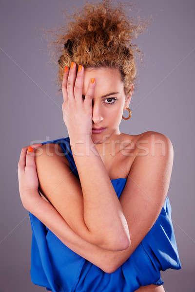 Schöne Frau Hälfte Gesicht Hände Frau Stock foto © alexandrenunes