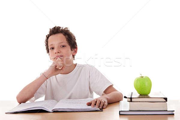 мальчика изучения мышления один яблоко Top Сток-фото © alexandrenunes