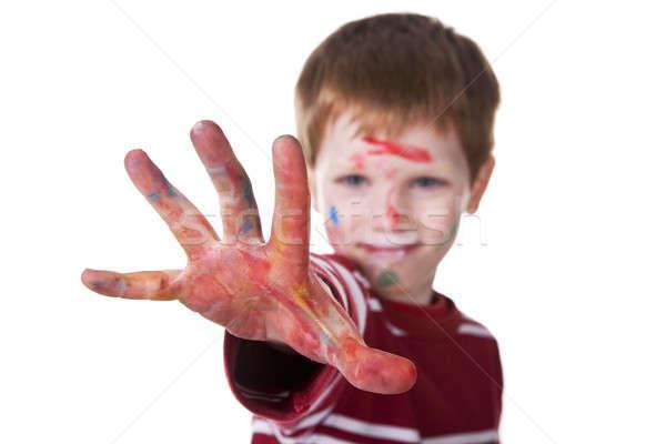 Main allusion rouge Kid floue isolé Photo stock © alexandrenunes