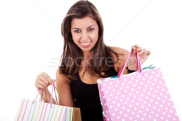 Mädchen glücklich Einkaufstaschen isoliert weiß Frau Stock foto © alexandrenunes