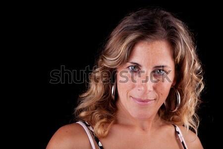 Belo elegante mulher madura isolado preto Foto stock © alexandrenunes