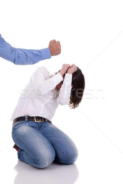 家庭内暴力 手 男 女性 背景 悲しい ストックフォト © alexandrenunes