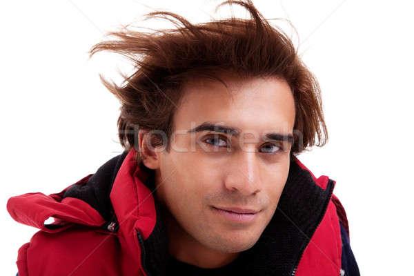 Retrato moço cabelo vento roupa isolado Foto stock © alexandrenunes