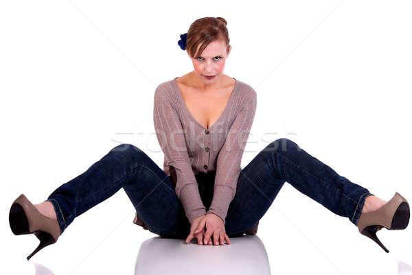 Stok fotoğraf: Güzel · mutlu · kadın · oturma · zemin