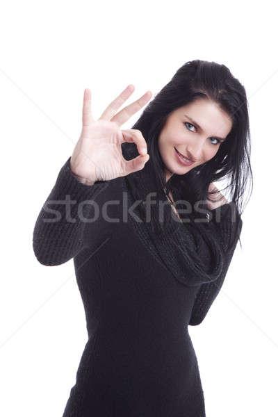 Young pretty women with thumb ok, Stock photo © alexandrenunes