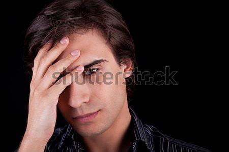 Homem dor de cabeça mãos mão cara cabelo Foto stock © alexandrenunes