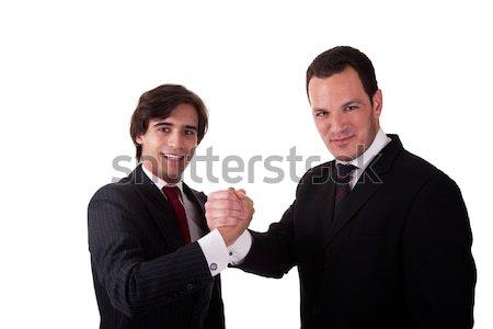 Aperto de mão dois empresários isolado branco Foto stock © alexandrenunes