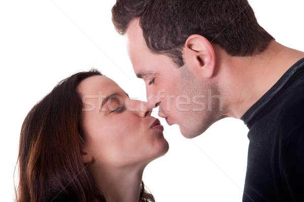 Doce beijo casal isolado branco família Foto stock © alexandrenunes
