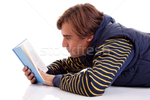 Homem leitura livro isolado branco Foto stock © alexandrenunes