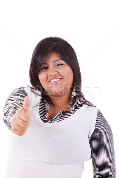 happy large latin woman with thumb up Stock photo © alexandrenunes