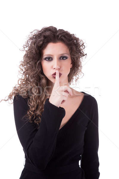Belo mulher jovem silêncio cabelos cacheados isolado Foto stock © alexandrenunes