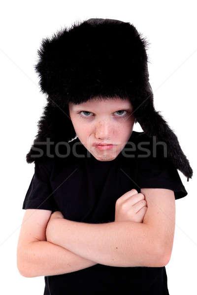 Bonitinho menino boné zangado isolado Foto stock © alexandrenunes