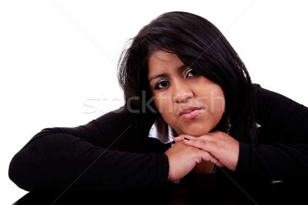 thinking large latin woman Stock photo © alexandrenunes