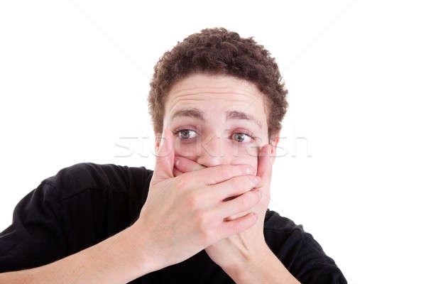 Jeune homme étonné isolé blanche yeux Photo stock © alexandrenunes
