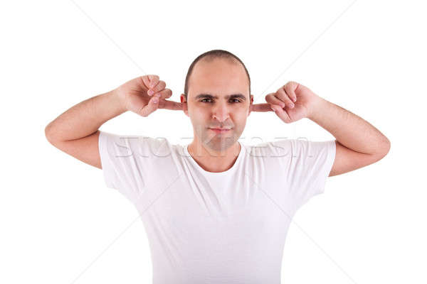 Moço dedos orelhas ruído isolado Foto stock © alexandrenunes