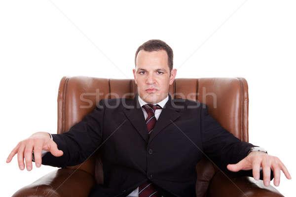üzletember zaklatott ülő szék izolált fehér Stock fotó © alexandrenunes