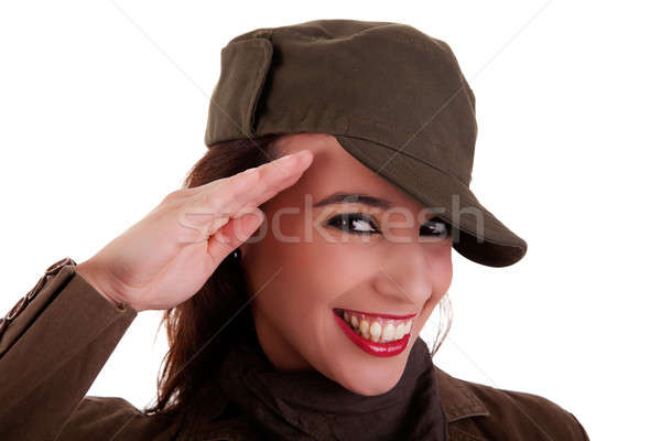 happy woman army soldier saluting Stock photo © alexandrenunes