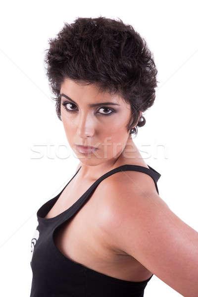 Belo sério mulher olhando branco Foto stock © alexandrenunes