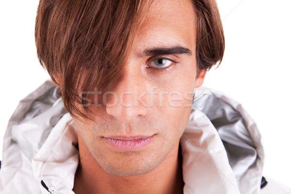 Retrato bonito moço olhando sério branco Foto stock © alexandrenunes